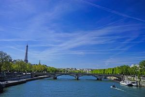 The River Seine in Paris France with Eiffel Tower by 360 Studios