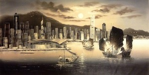 Hong Kong Harbor Skyline by Adi