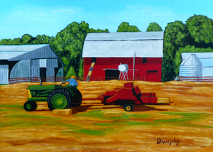 Bailing Hay by Anthony J Dunphy
