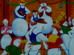 Barn Dancing Snowmen by Anthony J Dunphy