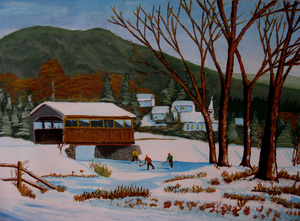 Covered bridge winter skaters by Anthony J Dunphy