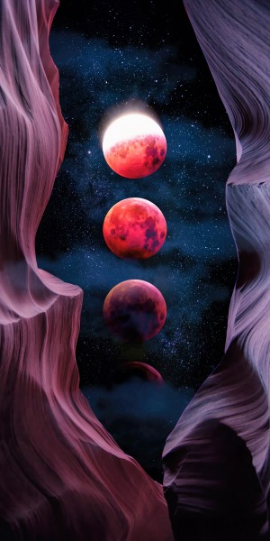 Grand Canyon with Space & Bloody Moon - Collage V - Panoramic by Art Design Works