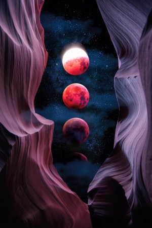 Grand Canyon with Space & Bloody Moon - Collage V by Art Design Works
