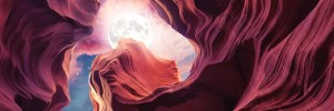 Grand Canyon with Space & Full Moon Collage II   Panoramic by Art Design Works