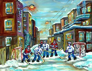 SCENE DHIVER DE MONTREAL HOCKEY RUELLE DOUTREMONT by Carole  Spandau