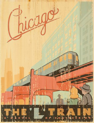 Vintage poster canvas collection for Vintage chicago posters