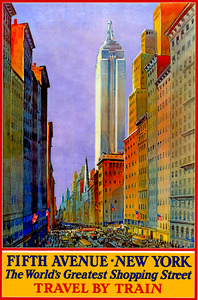 Fifth Ave New York - Train Ad - Vintage Travel by Culturio