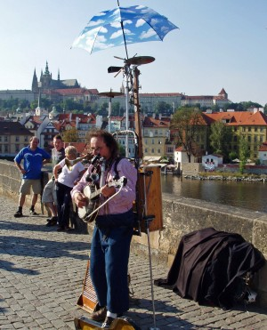 Charles Bridge Prague Street Musician by Darryl Green