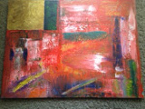 Red and Gold Abstract by Darryl Green