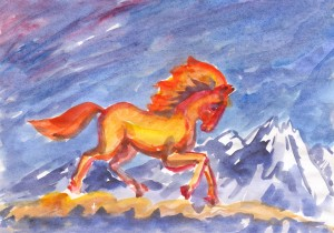 Fabulous fire stallion runs in the clouds by Dobrotsvet Art