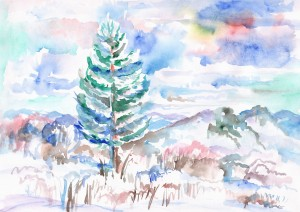 Lonely snow-covered spruce in the mountains by Dobrotsvet Art
