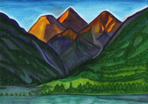 Evening illumination of snowy mountain peaks with waterfalls and a mountain river by Dobrotsvet Art