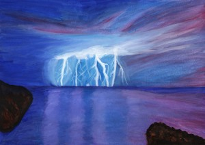 Night lightning illuminating the ocean bay by Dobrotsvet Art