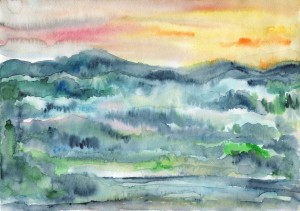 Watercolor Summer Sunset by Dobrotsvet Art