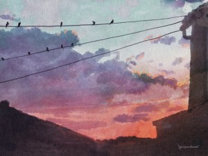 Birds at sunset by Georgina Vincent