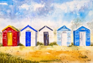 Beach Huts  by Wall Art Unlimited