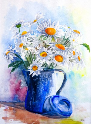 Daisies in a Blue Jug  by Wall Art Unlimited