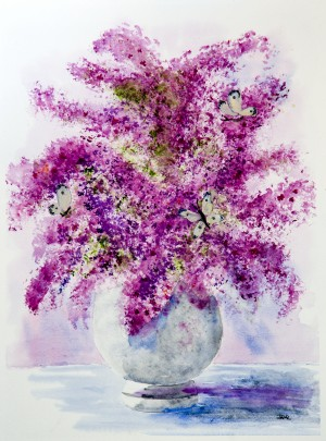Lilacs and Butterflies  by Wall Art Unlimited