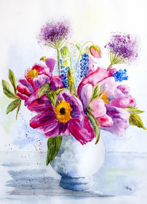Summer Flowers in a China Vase  by Wall Art Unlimited
