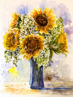 Sunflowers in a Blue Vase  by Wall Art Unlimited
