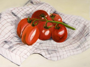 Tomatoes on a Striped Cloth  by Wall Art Unlimited