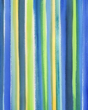 Abstract Lines Raining Blue Green Yellow Watercolor  by Irina Sztukowski