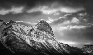 Ha Ling Peak - Black and White by Jane Dobbs