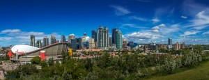 Calgary and the Saddledome on a Sunny Day by Jane Dobbs