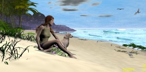 A Quiet Beach with a friend by Kenneth T Parker