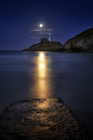 Moonlit Mumbles Lighthouse by Leighton Collins