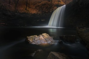 Moody Sgwd Gwladus waterfall by Leighton Collins
