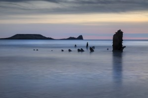 The wreck of the Helvetia on Rhossili Bay South Wales UK by Leighton Collins