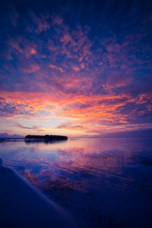 Amazing sunset beach in Maldives, summer travel by Levente Bodo