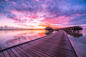 Amazing tropical sunset beach, luxury overwater bungalow by Levente Bodo