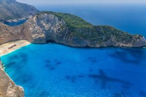 Navagio beach with shipwreck on Zakynthos island in Greece by Levente Bodo