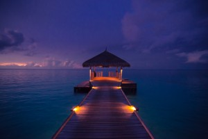 Idyllic arbor on water, Maldive Islands by Levente Bodo