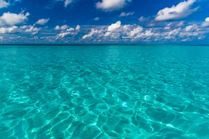 perfect sky and water of ocean by Levente Bodo