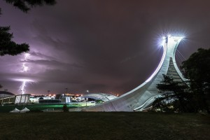 Lightning and Montreal Olympic Stadium by Lrenz
