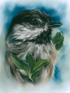 Chickadee with Live Oak Leaves by MM Anderson