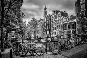AMSTERDAM Flower Canal black and white by Melanie Viola