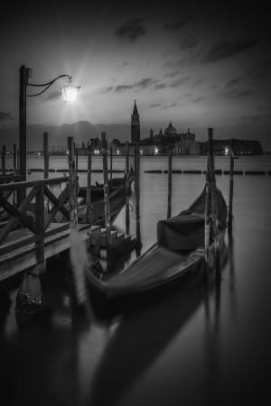 VENICE Gondolas in black and white by Melanie Viola