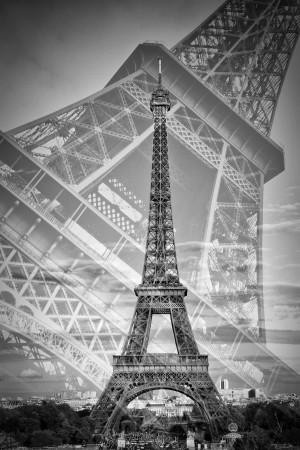 Eiffel Tower Double Exposure II | Monochrome by Melanie Viola