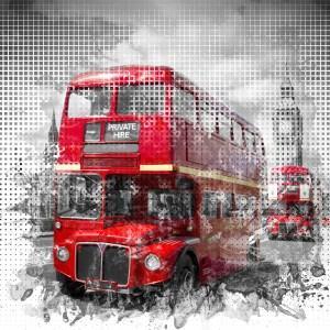 Graphic Art LONDON WESTMINSTER Red Buses by Melanie Viola