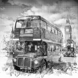Graphic Art LONDON WESTMINSTER Buses | Monochrome by Melanie Viola