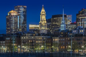 BOSTON Evening Skyline of North End & Financial District