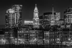 BOSTON Evening Skyline of North End & Financial District | Monochrome