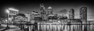 BOSTON Fan Pier Park & Skyline in the evening | Monochrome Panoramic