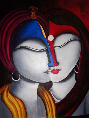 Spiritual Fusion- Krishna and Radha by Mrs Neeraj Parswal