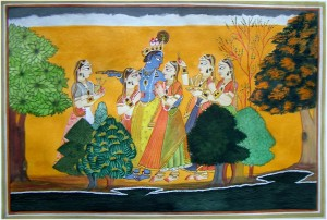 Krishna ,Radha  and Gopies by Mrs Neeraj Parswal