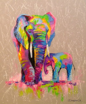 Mother and son elephants by Olha Darchuk